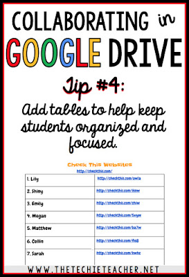 5 ways to avoid disasters when students are collaborating in Google Drive. Tip #4: Add tables to help keep students organized and focused