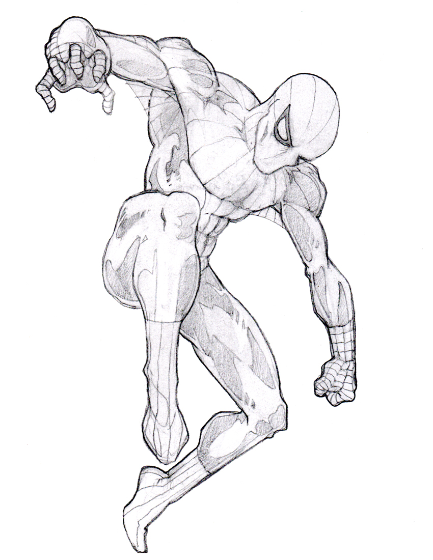 Pencil sketch spider man in action