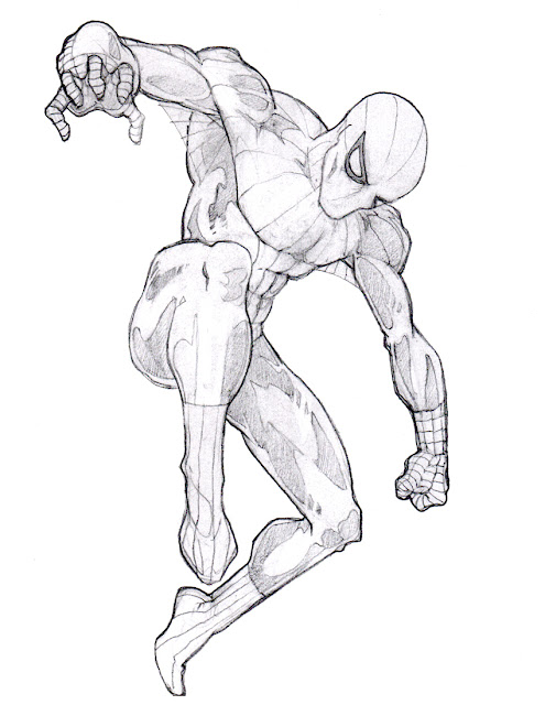 Pencil sketch Spider-Man in action