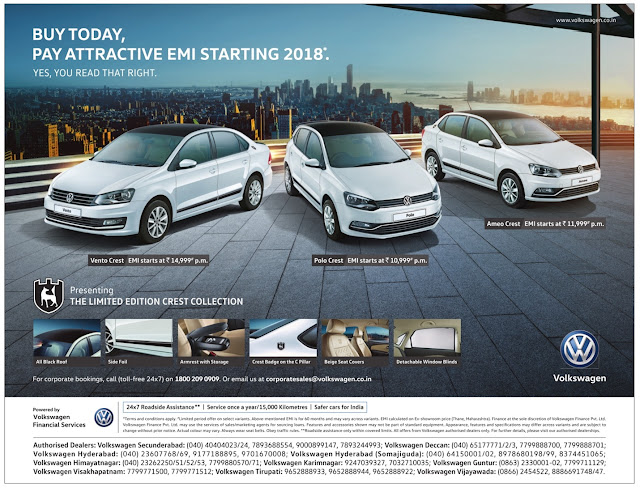 Buy Today and Pay EMI in 2018 - Volkswagen cars | December 2016 year end sale festival discount offers