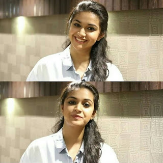 Mana Keerthy Suresh: Keerthy Suresh in White Dress with Cute and Lovely Smile