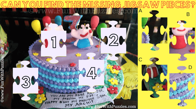 It is Birthday Cake Jigsaw Puzzle for Kids in which has to find missing Jigsaw Pieces of Cake in Puzzle Picture