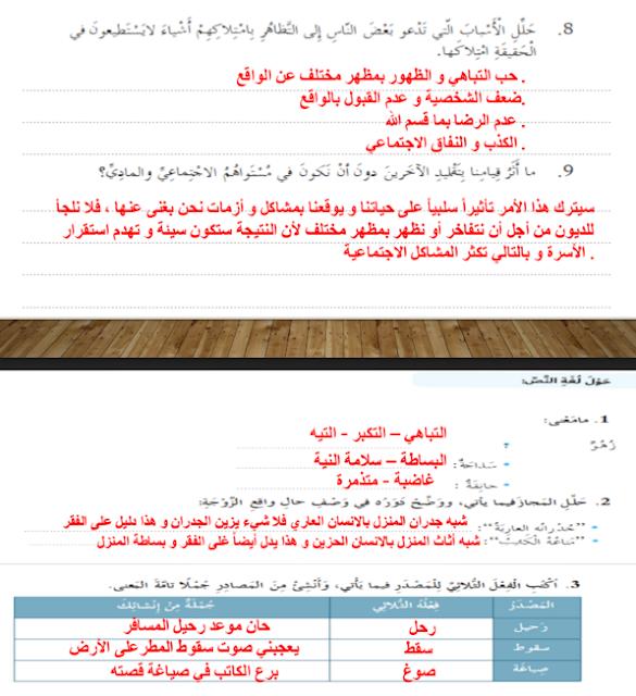 حل درس العقد لغة عربية صف ثامن فصل ثاني 2021