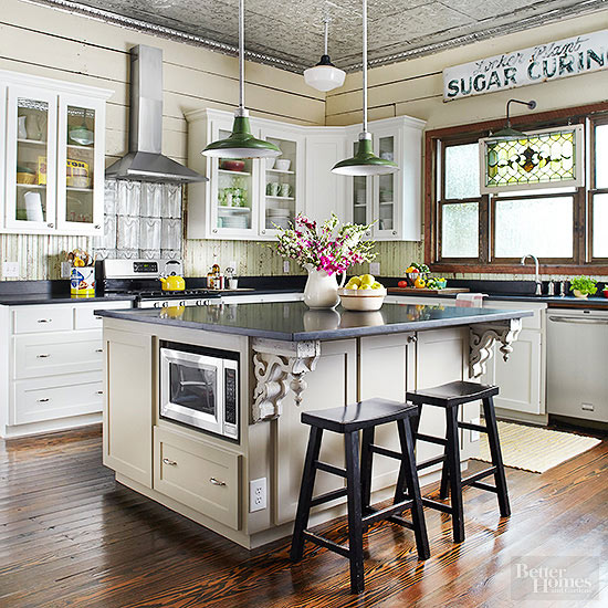 The country farm home farmhouse kitchen color trends for 2016 for Vintage kitchen designs photos