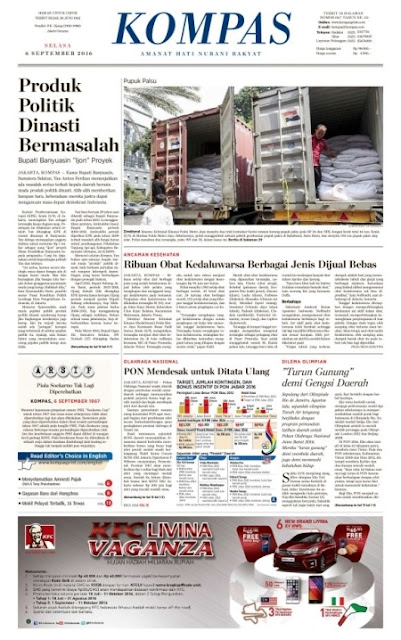 Kompas Edisi Selasa 6 September 2016