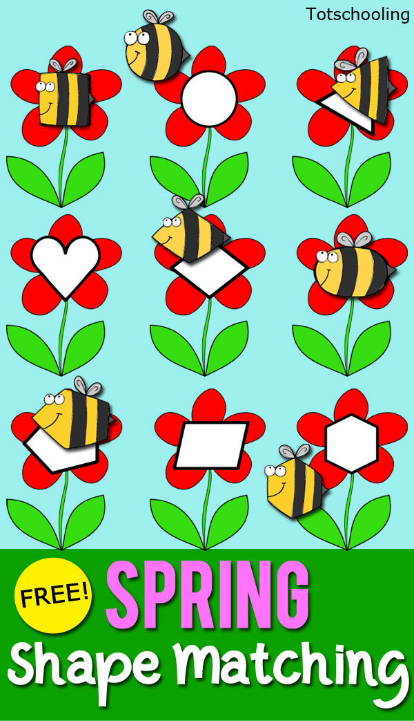 Bees Amp Flowers Shape Matching Totschooling Toddler
