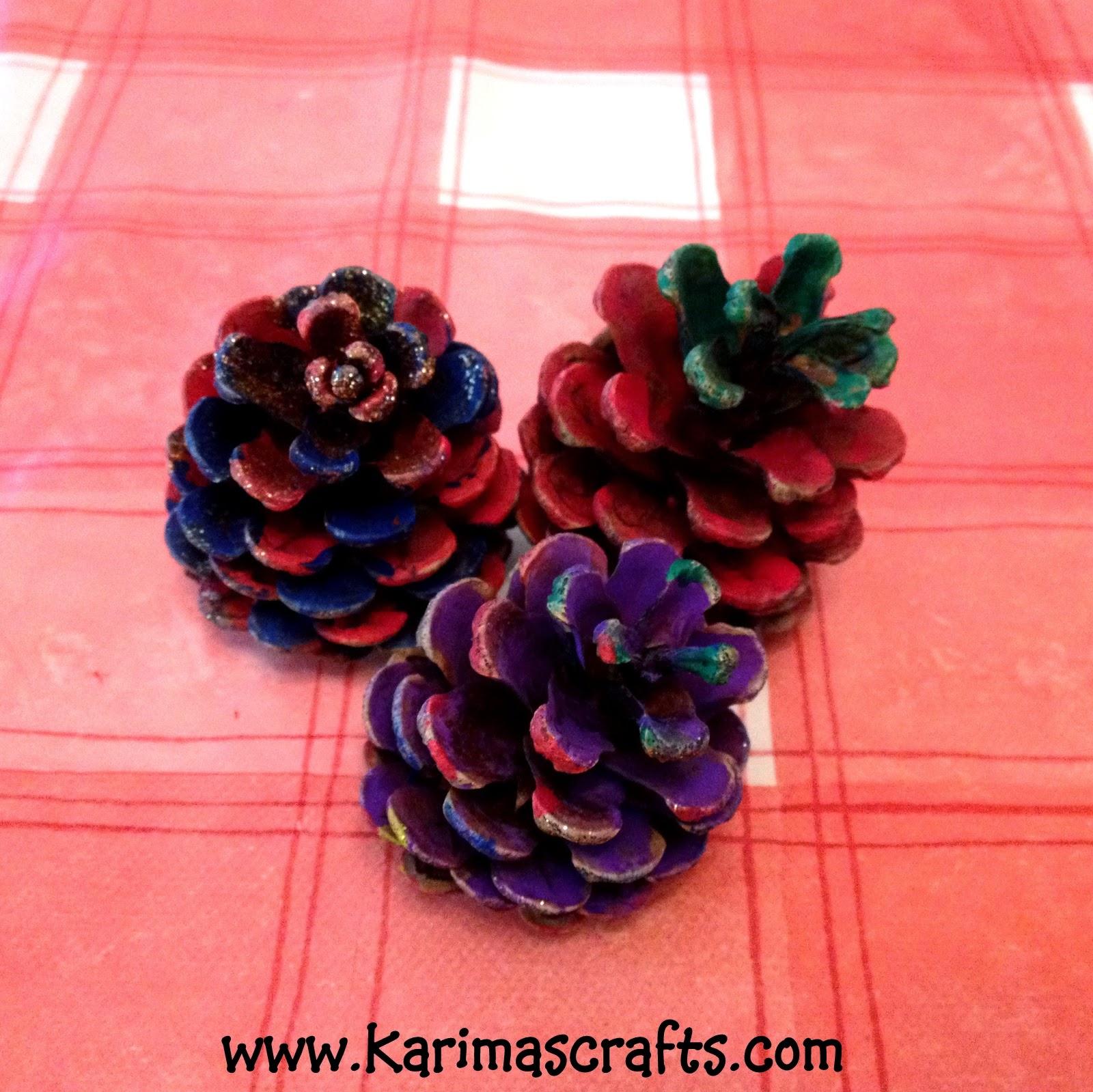 Karima's Crafts: Painted Pine Cones Crafts