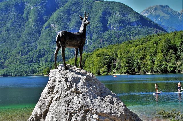 Zlatorog, God at Slovenia Statue at Lake Bohinj Slovenia