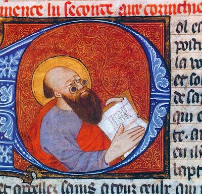 San Pablo representado con anteojos.  Bible historiale século XIV, BnF, Français 7, folio 220 v
