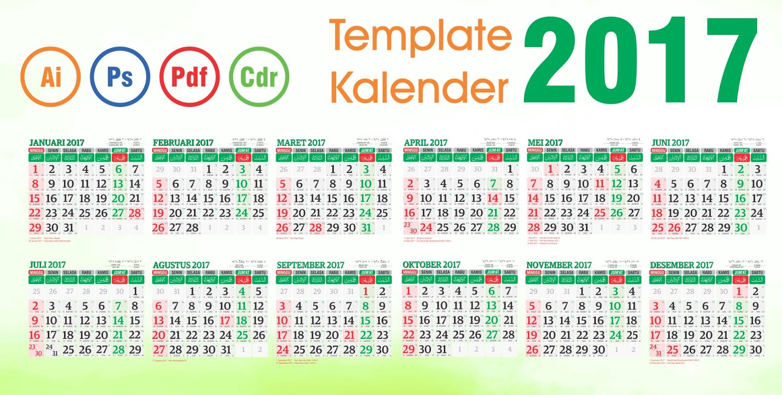 Download Kalender 2017 vector