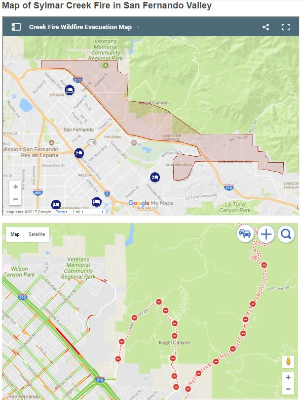 Live Map of Sylmar Creek Fire in San Fernando Valley