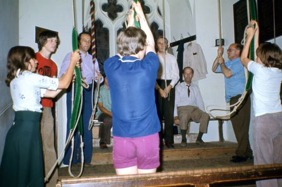 Bellringers at St Mary's North Mymms in July 1976 Image by Ron Kingdon, part of the Images of North Mymms Collection