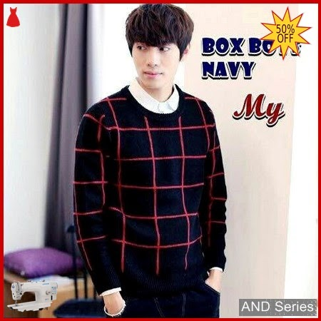 AND257 Sweater Pria Box Boy Biru Navy BMGShop