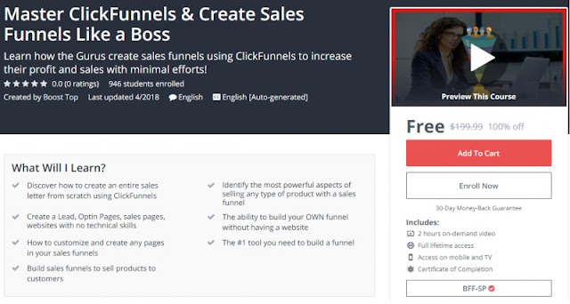 [100% Off] Master ClickFunnels & Create Sales Funnels Like a Boss| Worth 199,99$