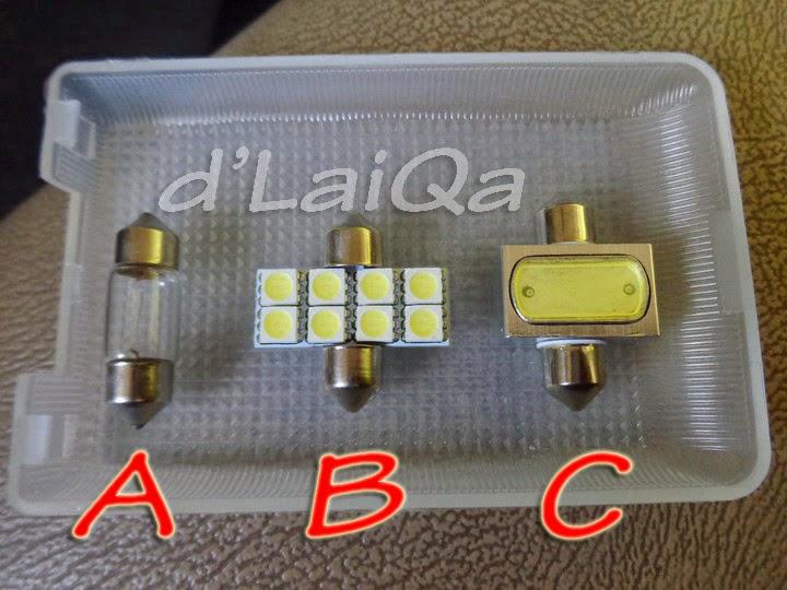 A. lampu asli, B & C. lampu led