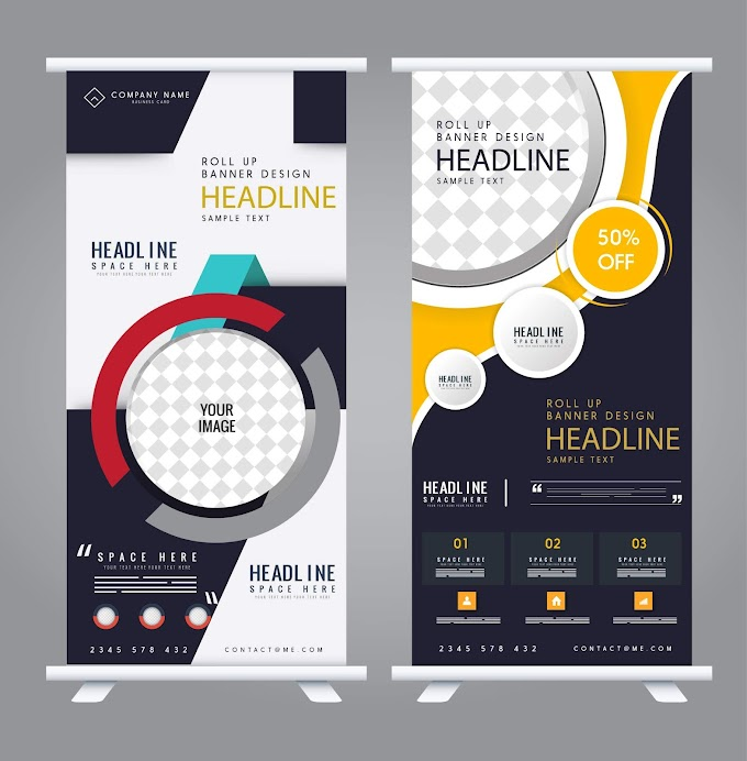 Corporate banner templates roll up shape modern decor Free vector
