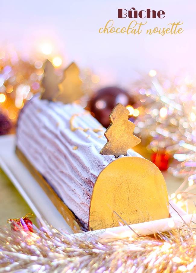 buche nouvel an chocolat noisette