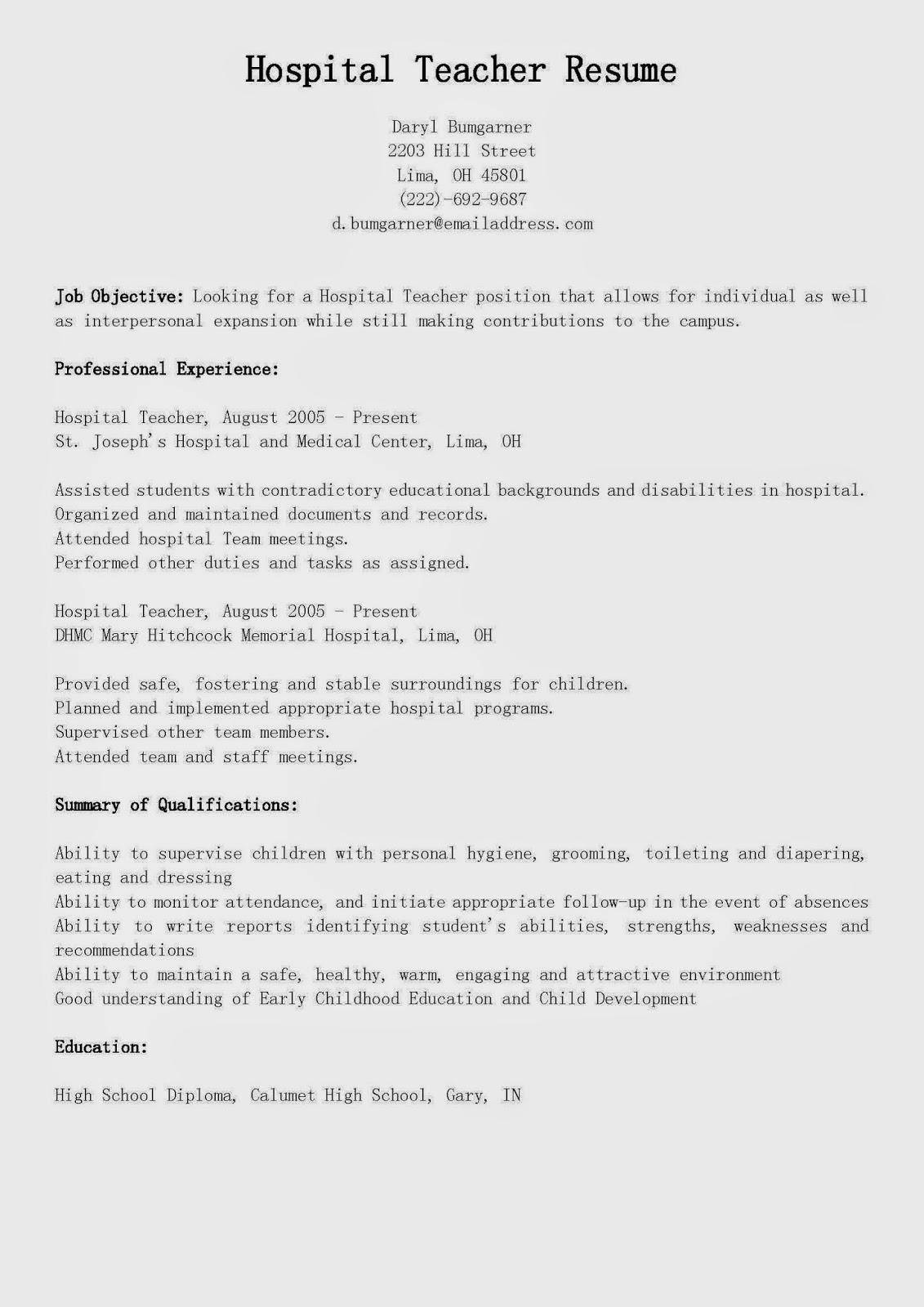 resume samples  hospital teacher resume sample