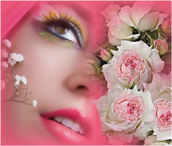 mujer, cara de mujer, rosa, flores, rosas, rostro, belleza, armonia