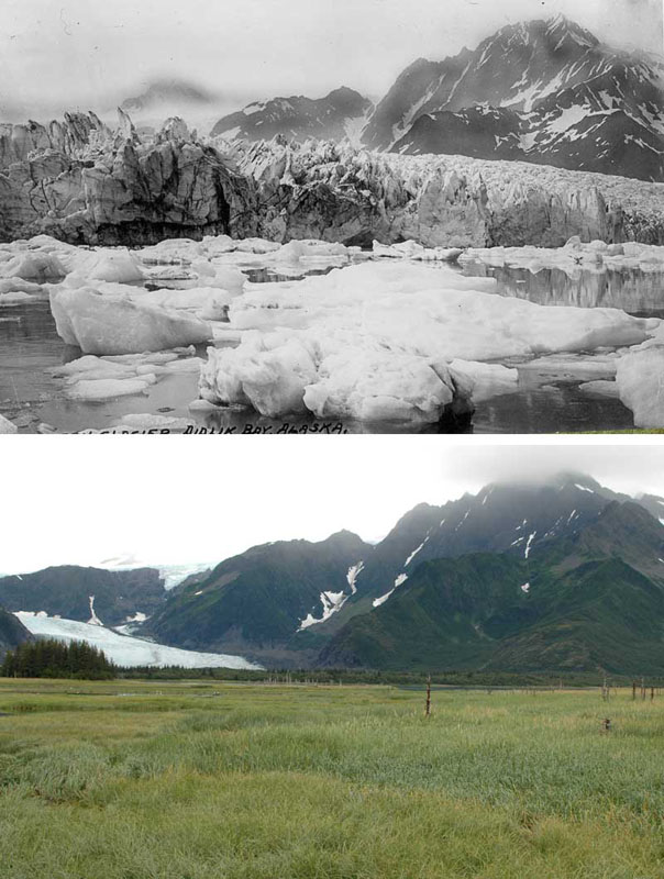You Still Think Climate Change Is A Hoax These 20 Before-And-After Photos Will Leave You Speechless! - 1930S AND 2005 ALASKAN PEDERSEN GLACIER