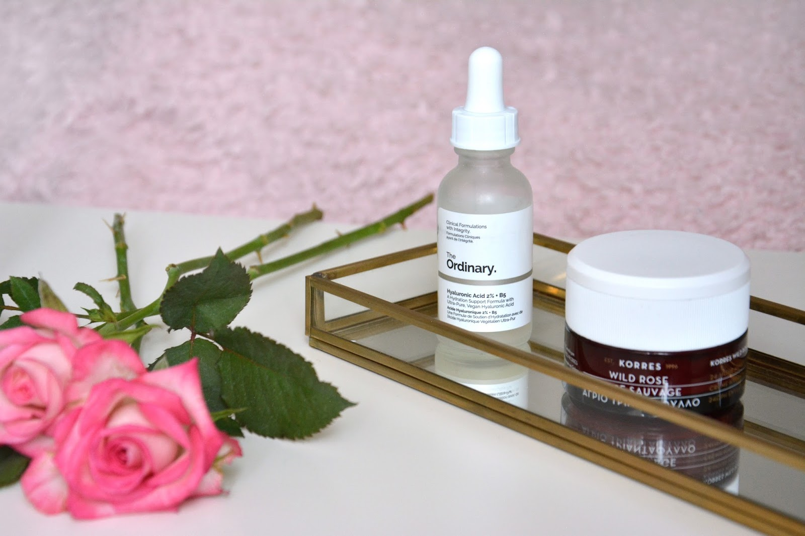 Pink Roses; Korres Wild Rose 24h Moisturiszing & Brightening Cream; The Ordinary Hyaluronic Acid