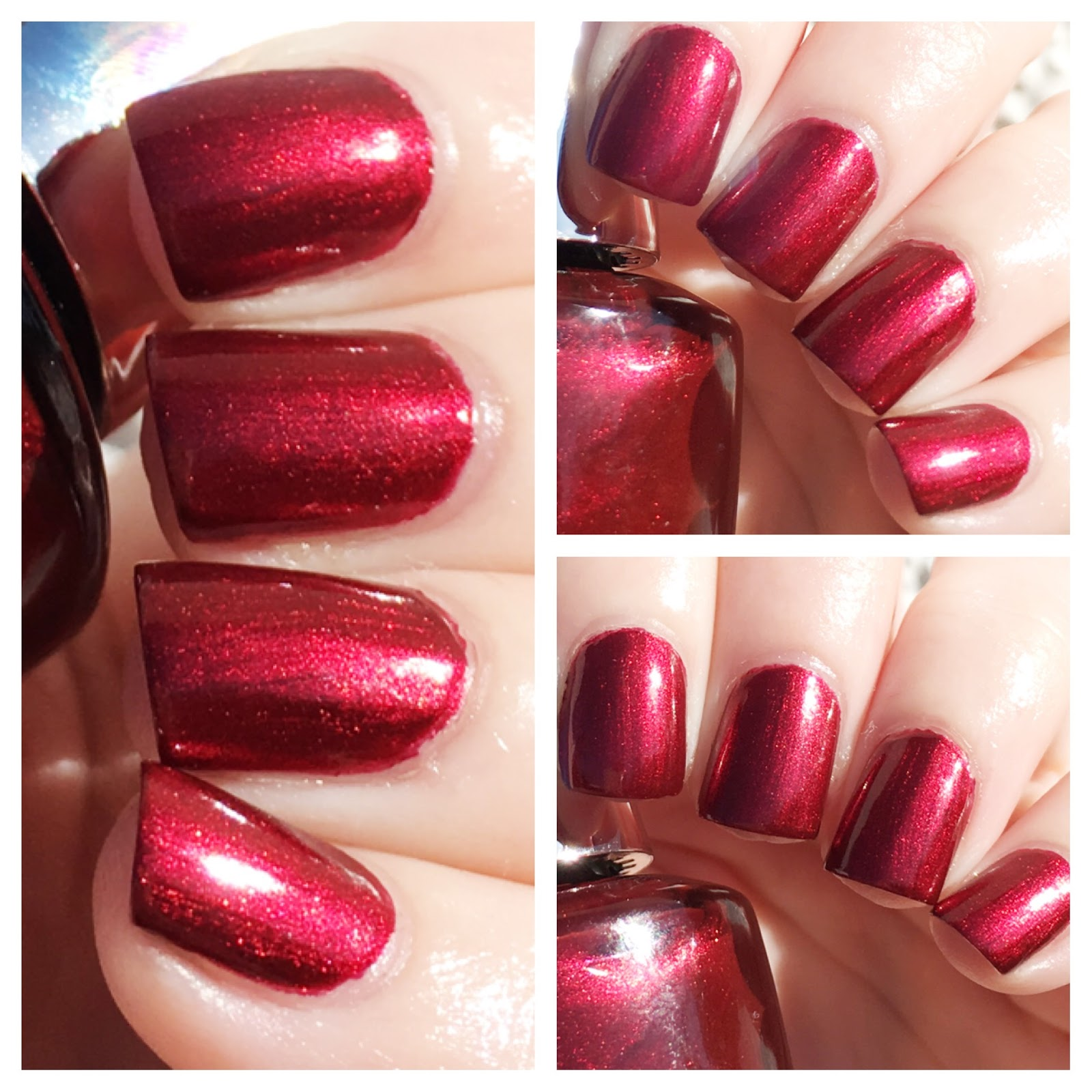 Two Coats Of Opi Infinite Shine 2 Icons Nail Lacquer In I M Not Really A Waitress Shimmering Chianti Red