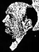 Poor-quality newspaper photograph of a mostly bald, middle-aged white man, in profile
