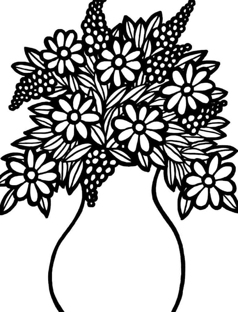 Best spring flower bouquet coloring pages drawing for Coloring pages of a flower