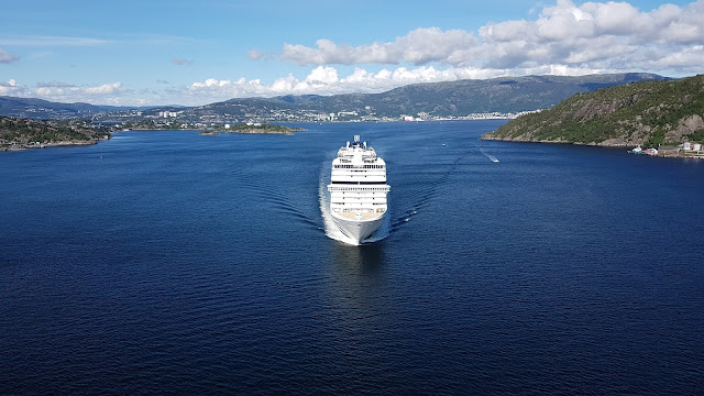 Cruise ship MSC Magnifica passes under the Askøy bridge near Bergen, Norway; MSC Cruises; Ships in Bergen