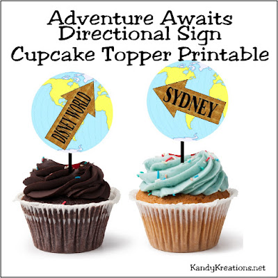 Decorate cupcakes with these easy cupcake topper printables. Each cupcake topper can be cut with a 2.5 inch circle punch and has a fun map background with directional signs to fun places where adventure may await this year.