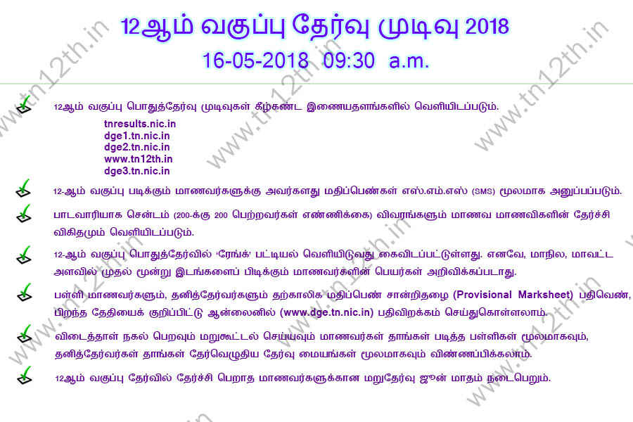 Tamilnadu 12th Result News in Tamil - www.tn12th.in