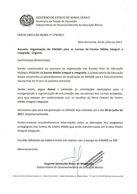 Ofício Circular SB/SEE nº 179/2017 - Organização do SIMADE para as turmas do EM Integral