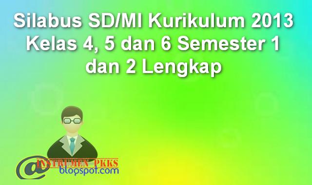 Silabus SD/MI Kurikulum 2013 Kelas 4, 5 dan 6 Semester 1 dan 2 Lengkap