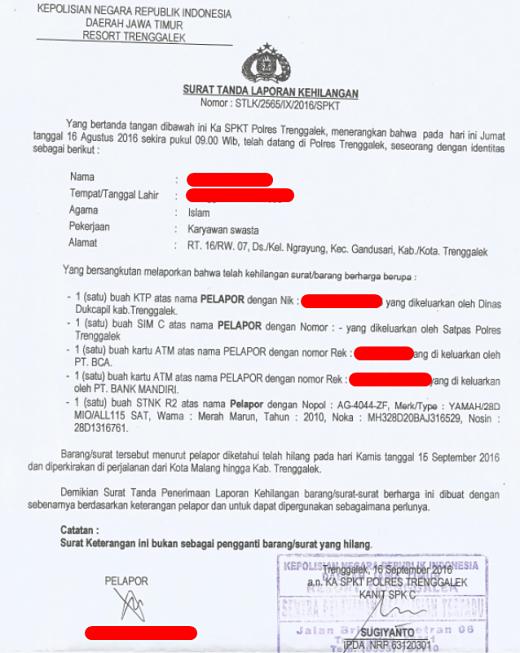 Surat kehilangan dari Kepolisian
