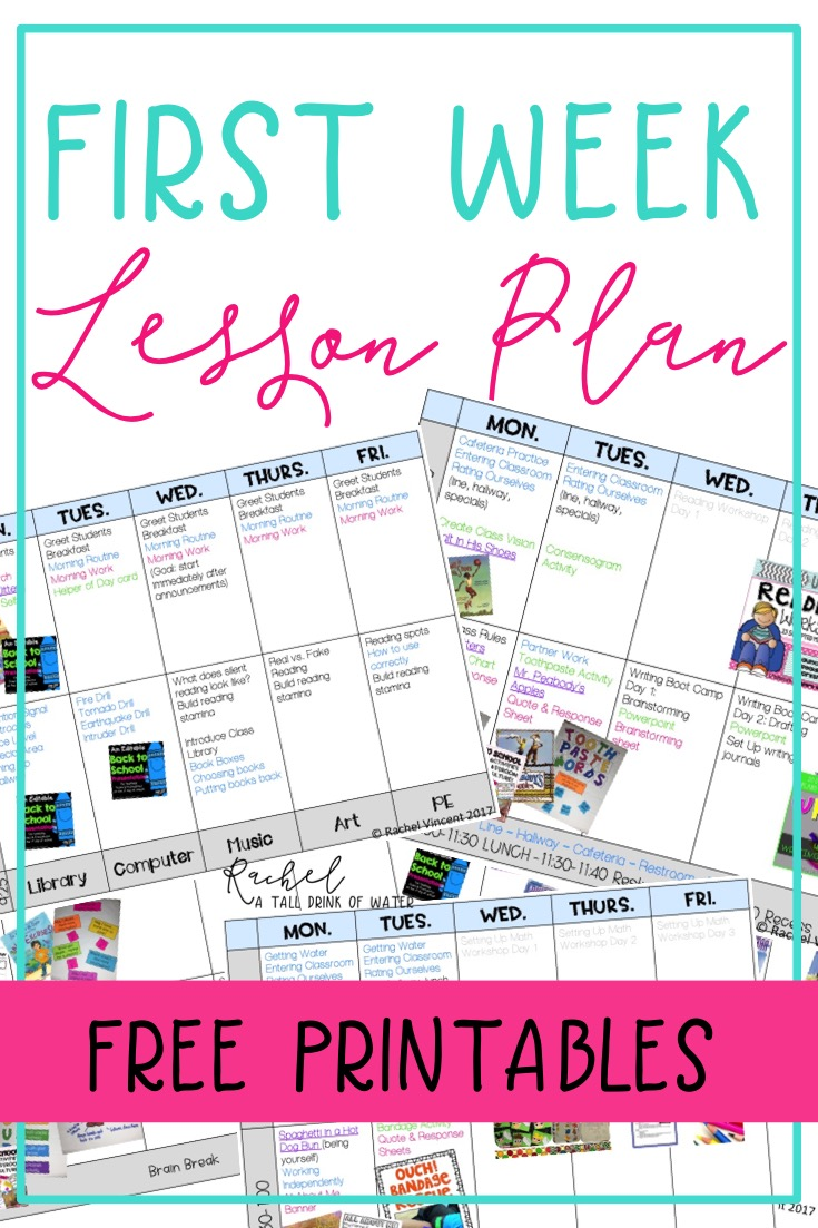 first week lesson plans resources rachel a tall drink of water