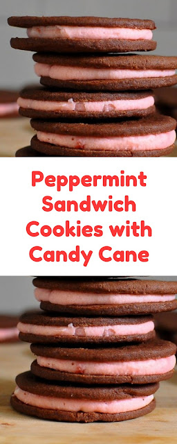 Peppermint Sandwich Cookies with Candy Cane