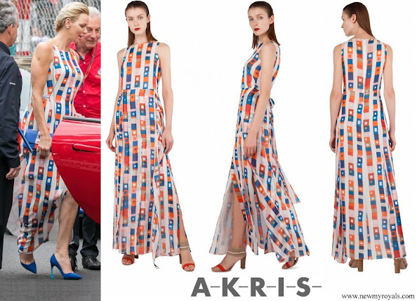 Princess Charlene wore AKRIS sleeveless colorful silk dress