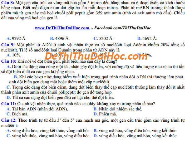 6 de thi thu dai hoc mon sinh 2016 co dap an