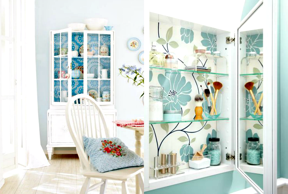 cabinets with wallpaper