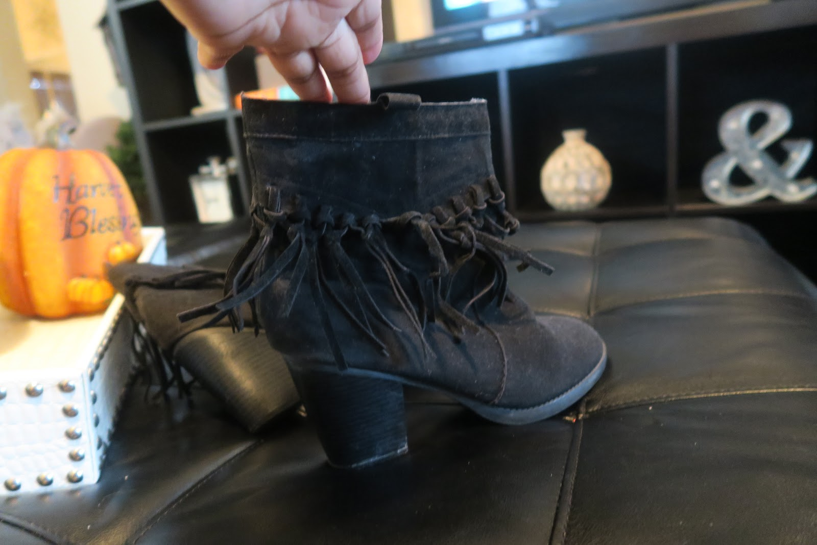 Image: Black booties for shoe haul on bits and babbles blog. Making room to shop for more new fall booties,