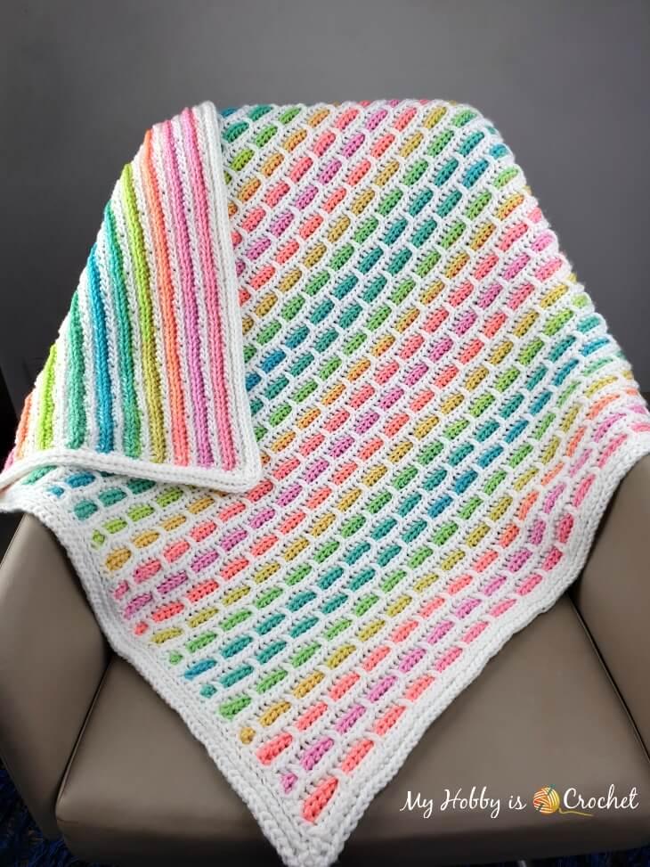 Unicorn Bricks Baby Blanket - Free Crochet Pattern