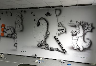 Aranżacja chillout room, mural w pokoju relaksacyjnym, pokój wypoczynkowy w firmie, malowanie ścian 3D