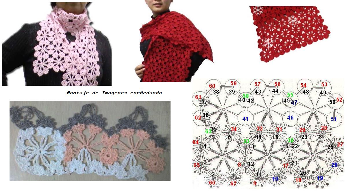 Patron Crochet Bufanda Copo de Nieve