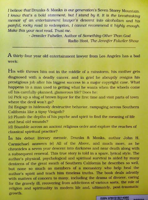 Achterkant van het boek Drunks & Monks van John H. Carmichael met recensies.