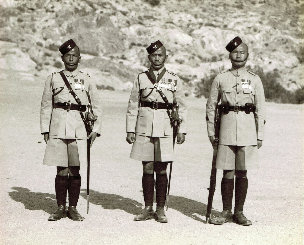 Jemadar Pahalman Gurung, Hon Lt & Subedar Major Maniraj Gurung OBI Sirdar Bahadur and a Havildar Major, Malakand 1939