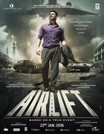 Poster Of Airlift 2016 Hindi 720p DVDRip ESubs Free Download Watch Online