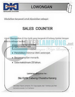 Kesempatan Bekerja di DIA OPTIK Cabang Chandra Karang Lampung Agustus 2016 Terbaru