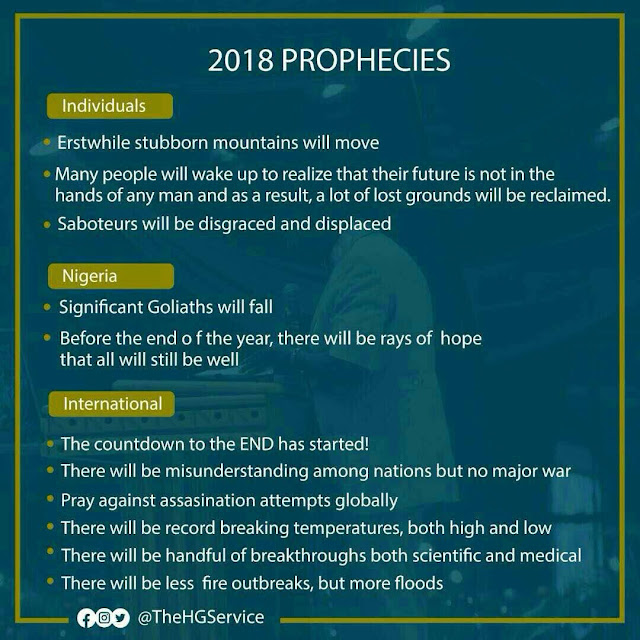 """""""Significant Goliaths will fall"""" – RCCG releases 2018 Prophecies"""