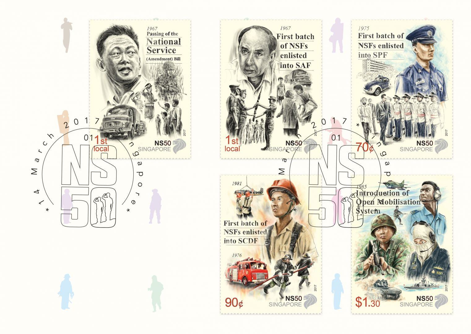 he NS50 stamp (Pre-Cancelled - $4.80) - 1st Local, 70¢, 90¢, $1.30 denominations
