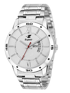 Espoir Exclusive Day & Date Display Analog White Dial Stainless Steel Men's Watch